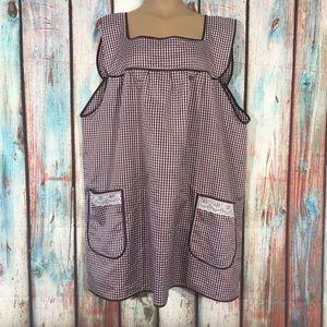 Dresses & Skirts - VTG Custom Made Burgundy Gingham Smock Dress 3X/4X
